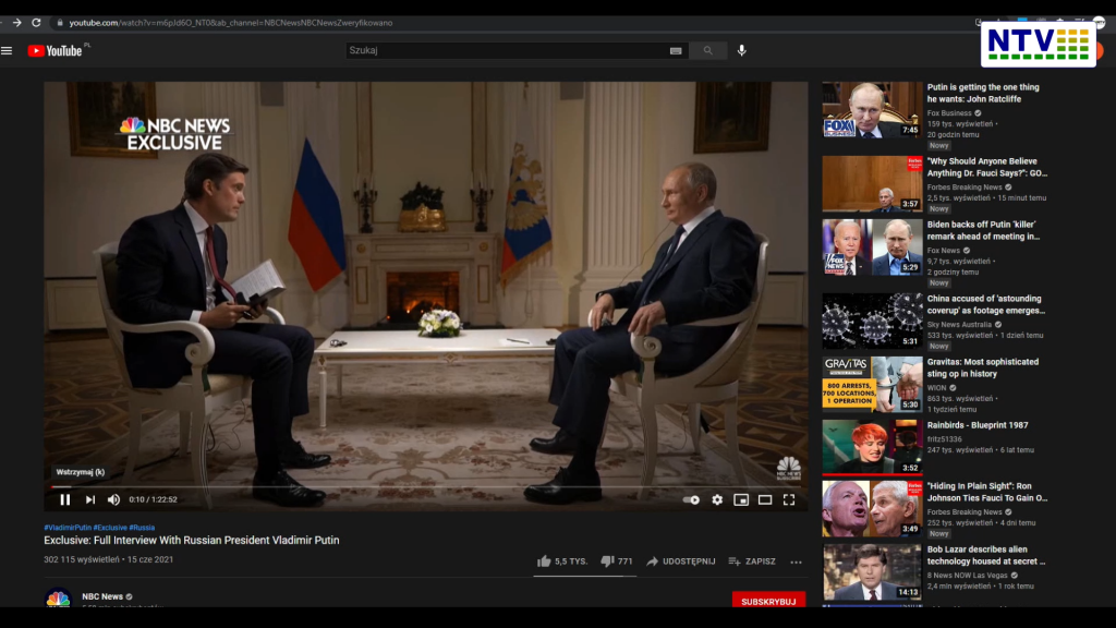 Wyjątkowy Wywiad TV NBC News z W. Putinem – 15 Cze 2021 przed szczytem Biden-Putin